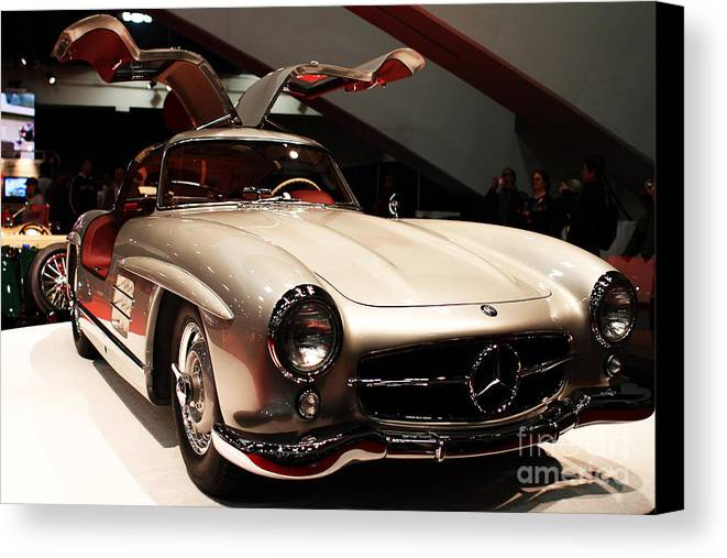 Mercedes 300sl Gullwing Canvas Print featuring the photograph Mercedes 300sl Gullwing . Front Angle by Wingsdomain Art and Photography