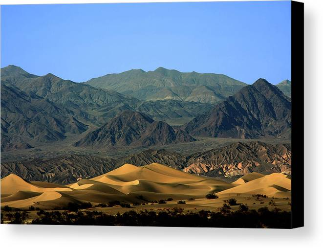 Death Valley National Park Canvas Print featuring the photograph Mesquite Flat Sand Dunes - Death Valley National Park Ca Usa by Christine Till