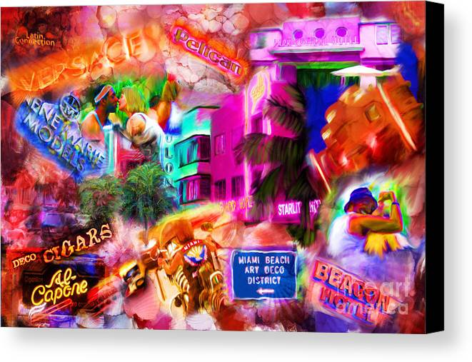 Southbeach Canvas Print featuring the mixed media Miami Deco by Marilyn Sholin