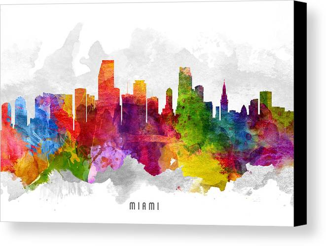 Miami Canvas Print featuring the painting Miami Florida Cityscape 13 by Aged Pixel