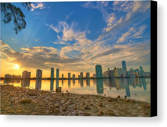 Miami Canvas Print featuring the photograph Miami Sunset by William Wetmore