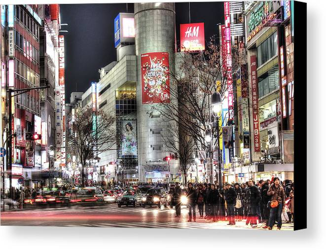 Japan Canvas Print featuring the photograph Midnight At Shibuya by Budi Nur Mukmin