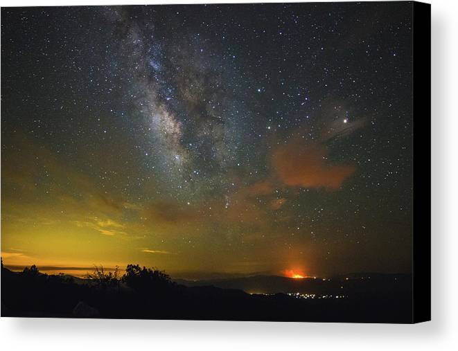 Milky Way Canvas Print featuring the photograph Milky Way Over Tenderfoot Fire by Jess Berry