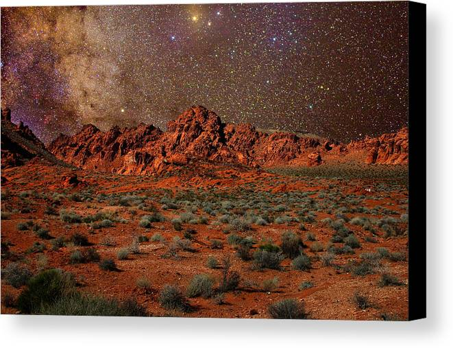 Desert Canvas Print featuring the photograph Milky Way Rising Over The Valley Of Fire by Charles Warren