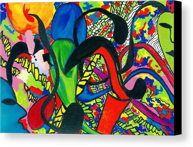 Abstract Canvas Print featuring the painting Mindwars by Katina Cote
