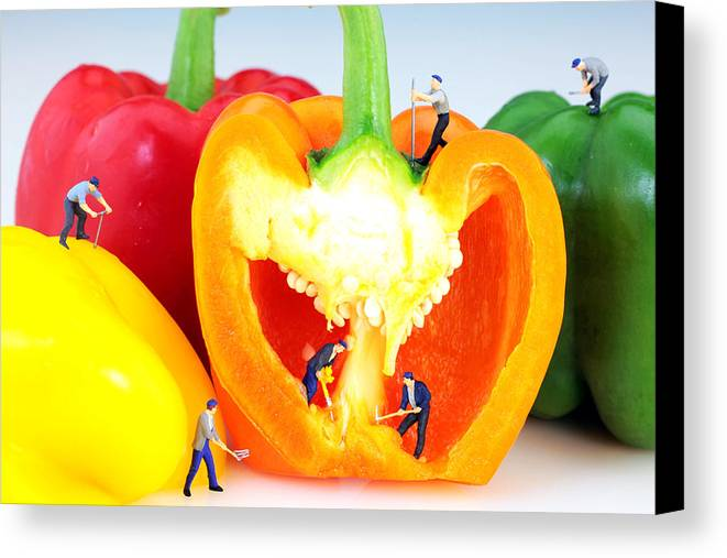 Pop Canvas Print featuring the photograph Mining In Colorful Peppers by Paul Ge