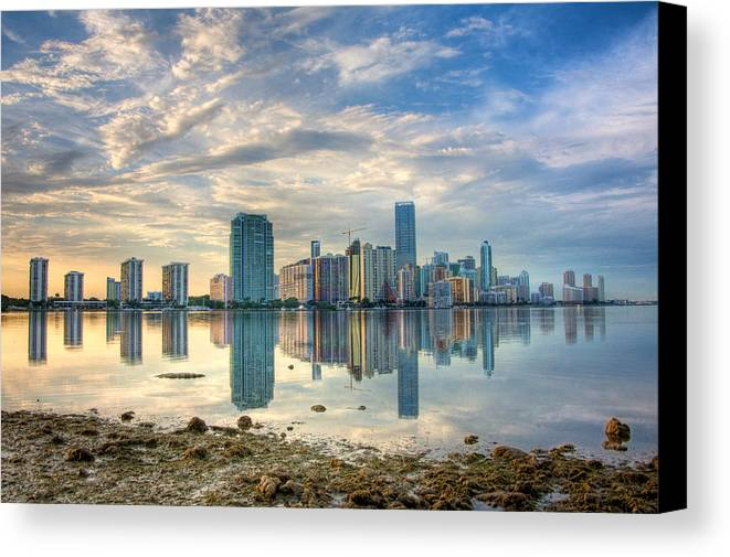 Miami Canvas Print featuring the photograph Mirror City by William Wetmore