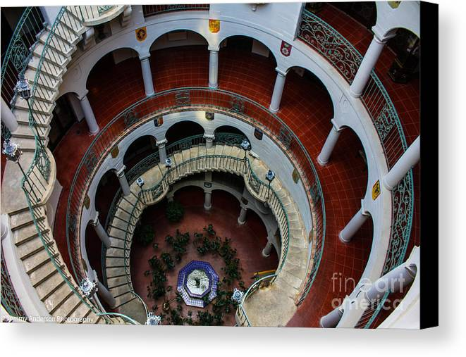 Mission Inn Canvas Print featuring the photograph Mission Inn Circular Stairway by Tommy Anderson