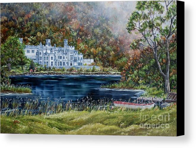 Kylemore Canvas Print featuring the painting Mist Over Kylemore Abbey by Avril Brand
