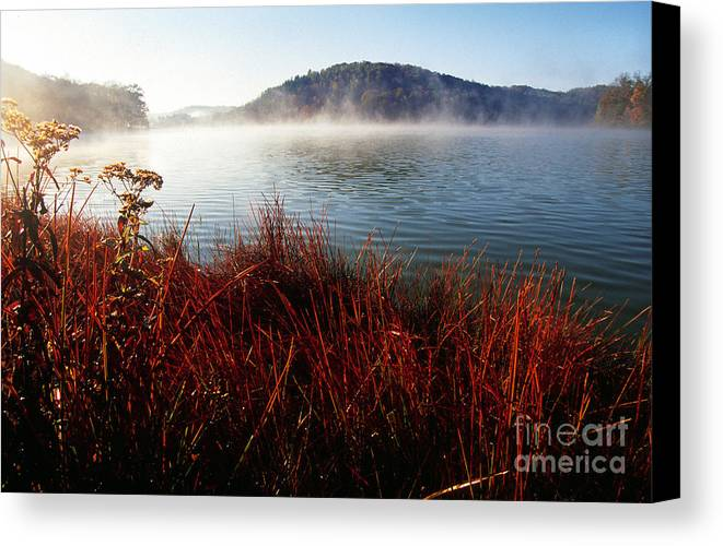 Big Ditch Lake Canvas Print featuring the photograph Misty Morning On The Lake by Thomas R Fletcher