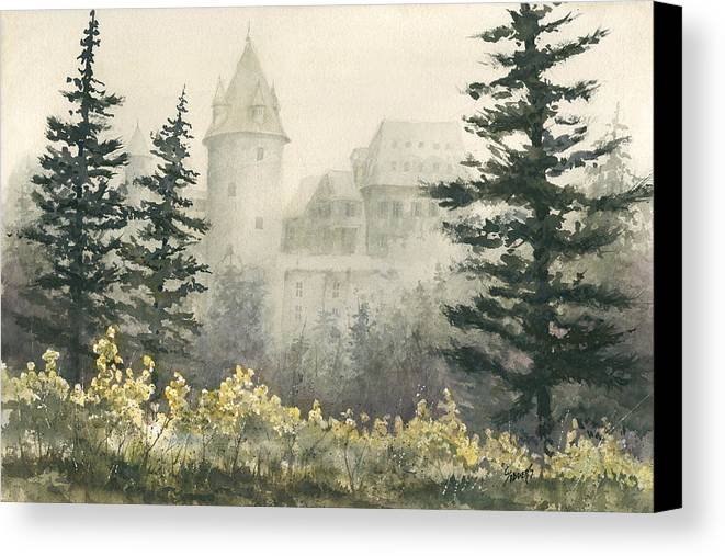 Castle Canvas Print featuring the painting Misty Morning by Sam Sidders