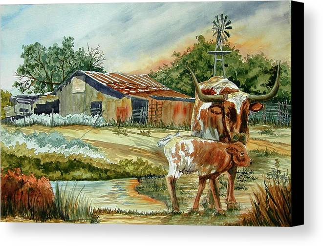 Longhorns Canvas Print featuring the painting Momma Longhorn And Calf by Ron Stephens