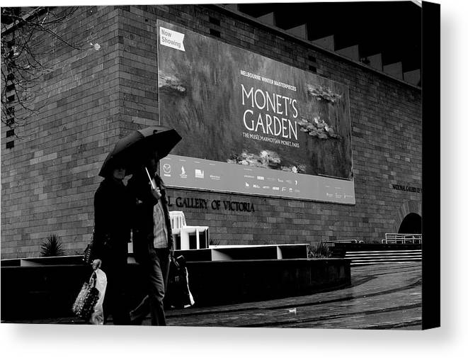 Monets' Garden At Ngv1 Canvas Print featuring the photograph Monets' Garden At Ngv by Win Naing