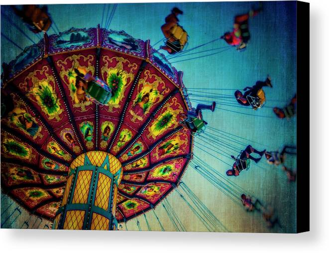 Carnival Swing Canvas Print featuring the photograph Moody Fair Swing by Garry Gay