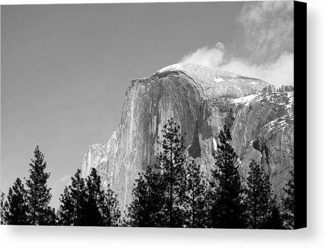 Landscape Canvas Print featuring the photograph Moon Over Half Dome by Richard Verkuyl