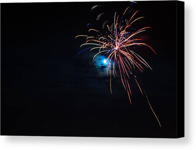 Fireworks Canvas Print featuring the photograph Moonshot by Christopher Muto