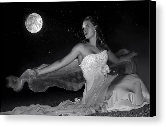 Digital Photo Canvas Print featuring the photograph Moonstruck by Jean Hildebrant