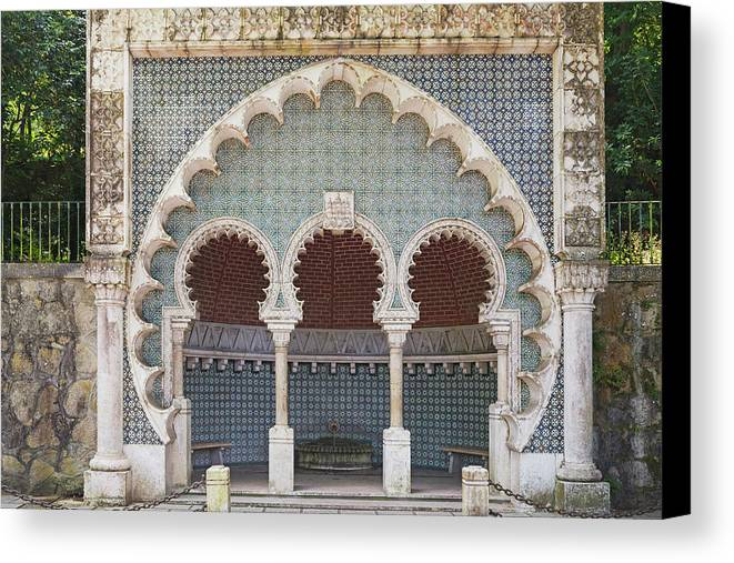 Ancient Canvas Print featuring the photograph Moorish Fountain Of Sintra by Moura Pereira