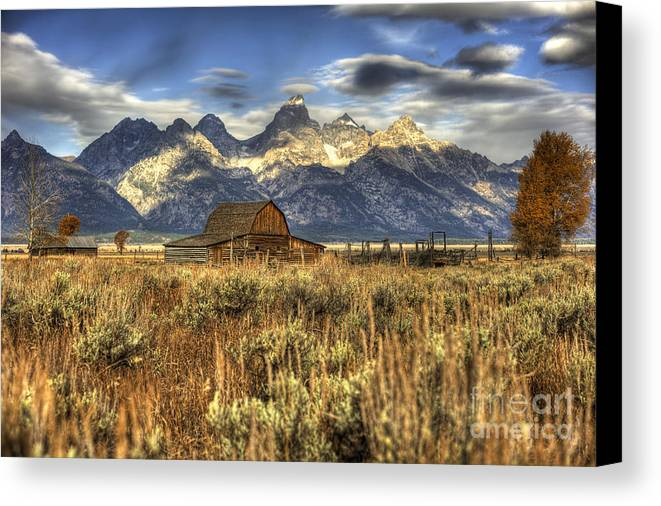 Seasons Canvas Print featuring the photograph Mormons Row Barn by Dennis Hammer
