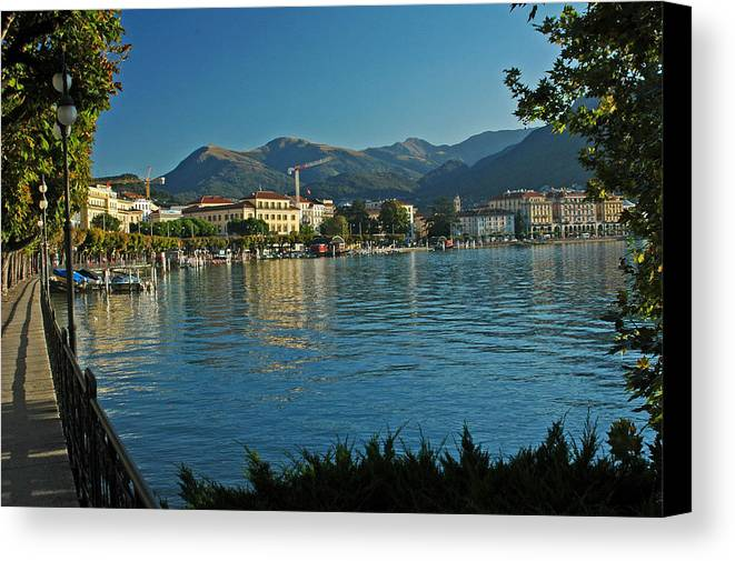 Landscape Canvas Print featuring the photograph Morning Along Lake Lugano by Deni Dismachek