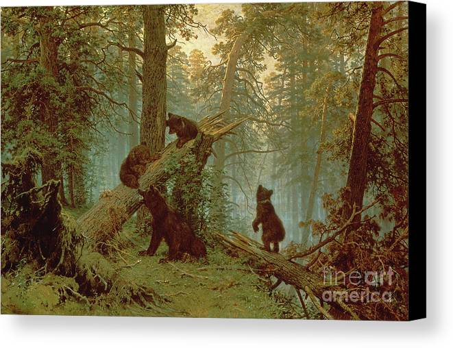 Morning Canvas Print featuring the painting Morning In A Pine Forest by Ivan Ivanovich Shishkin