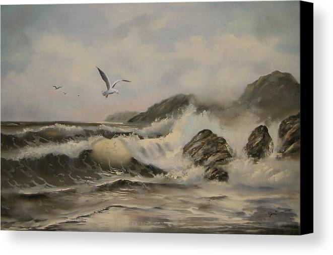 Seascape Canvas Print featuring the painting Morning Thunder by Joni McPherson