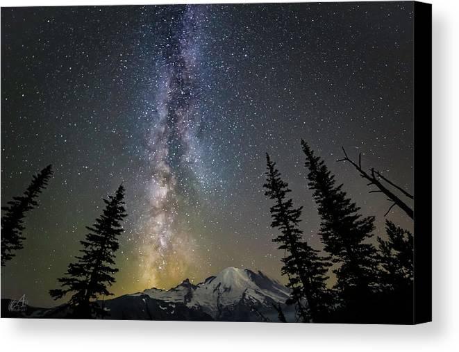 Friday Harbor Washington Canvas Print featuring the photograph Mountain Milky Way by Thomas Ashcraft