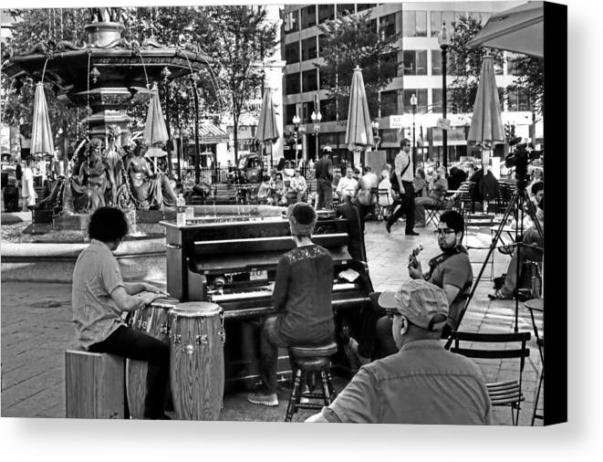 Boston Canvas Print featuring the photograph Music On The Boston Common Boston Ma Black And White by Toby McGuire