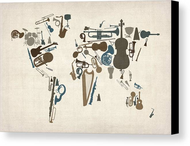 Musical instruments map of the world map canvas print canvas art world map canvas print featuring the digital art musical instruments map of the world map by gumiabroncs Images