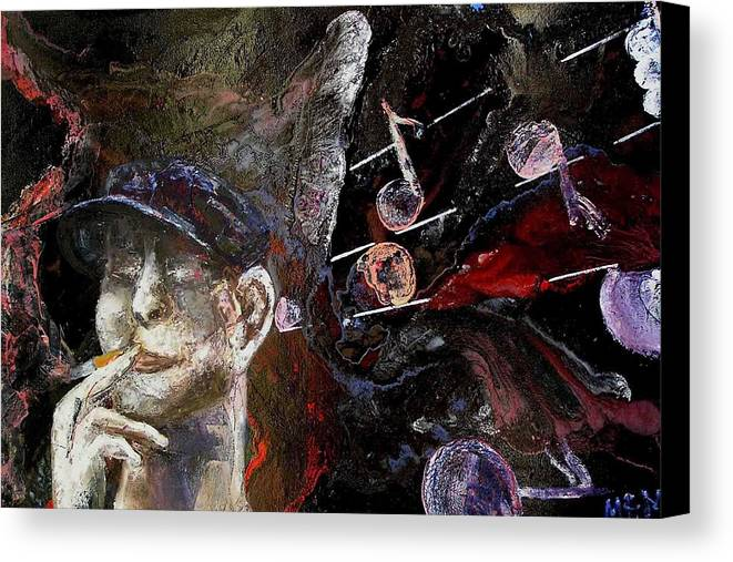 Canvas Print featuring the painting Musician by Evguenia Men