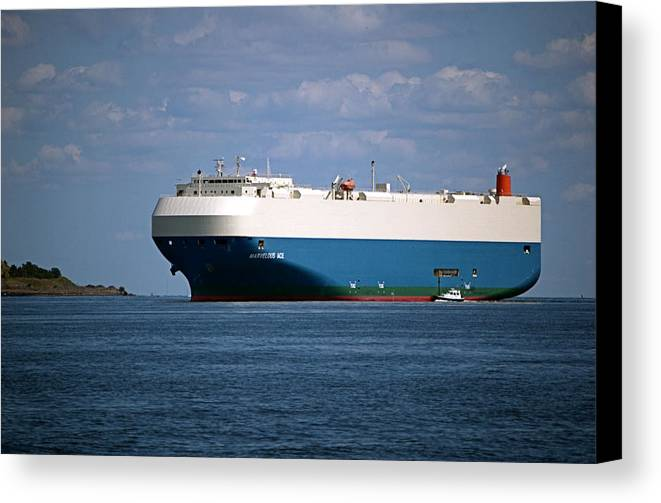 Ship Canvas Print featuring the photograph Mv Marvelous Ace Inbound Port Of Baltimore by Wayne Higgs
