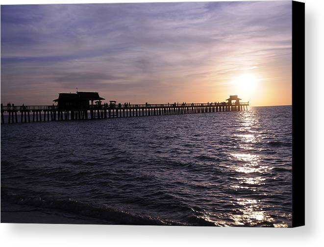 Naples Canvas Print featuring the photograph Naples Pier Sundown by Keith Lovejoy