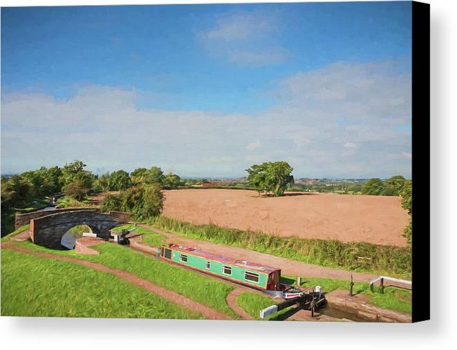 Tardebigge Locks Canvas Print featuring the digital art Narrow Boat In Lock by Roy Pedersen