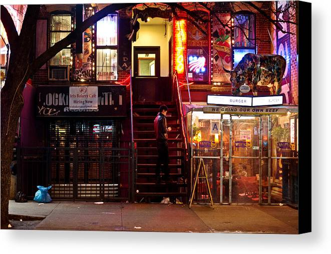 Nyc Canvas Print featuring the photograph Neon Lights - New York City At Night by Vivienne Gucwa