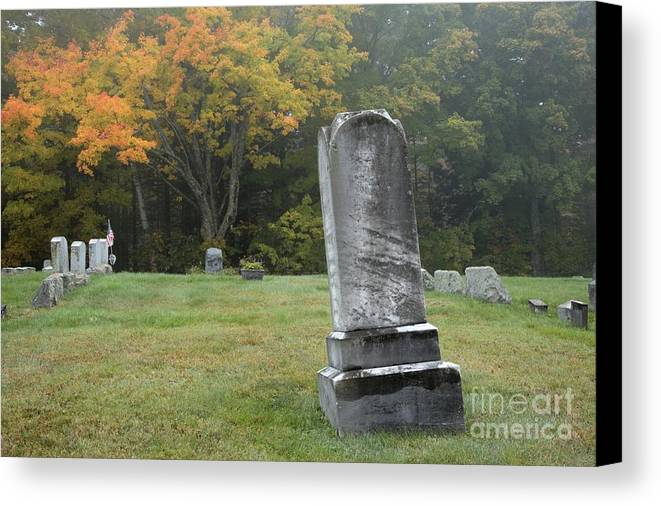 Graveyard Canvas Print featuring the photograph New England Graveyard During The Autumn by Erin Paul Donovan