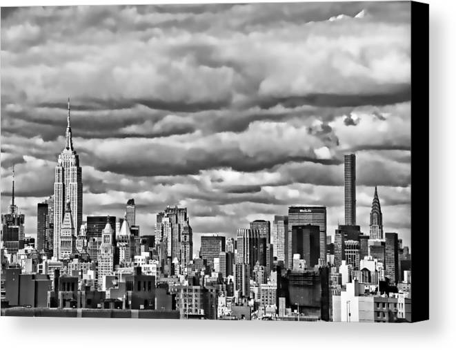 Architecture Canvas Print featuring the photograph New York City Skyline B And W by Allen Beatty