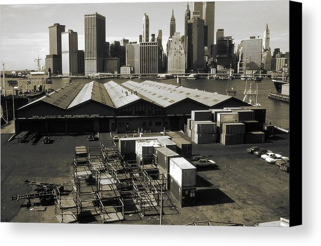 New+york Canvas Print featuring the photograph Old New York Harbor Skyline by Peter Potter