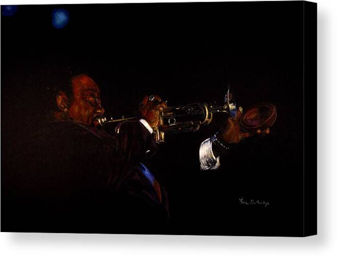 Colored Pencil Canvas Print featuring the drawing Night Blues by Lois Guthridge