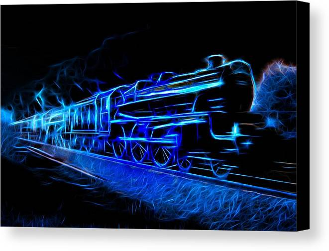 Steam Train Canvas Print featuring the photograph Night Train To Romance by Aaron Berg