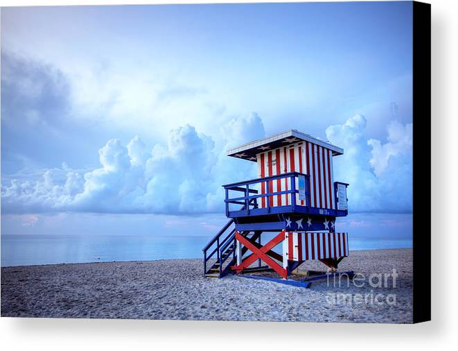 Miami Canvas Print featuring the photograph No Lifeguard On Duty by Martin Williams