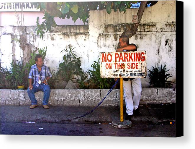 Photographer Canvas Print featuring the photograph No Parking This Side by Jez C Self