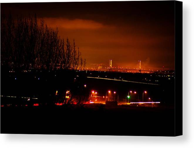 Night Canvas Print featuring the photograph Nocturnal Highway by Paul Kloschinsky