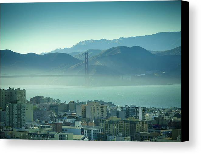 Horizontal Canvas Print featuring the photograph North Beach And Golden Gate by Hal Bergman Photography