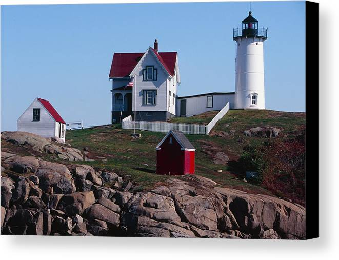 American Landmark Canvas Print featuring the photograph Nubble Point Lighthouse by George Oze