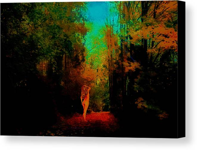 Canvas Print featuring the photograph Nude In The Forest by Jeff Burgess
