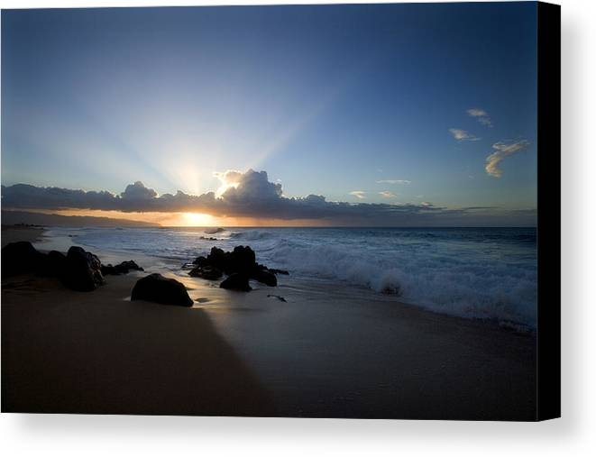 Ocean Canvas Print featuring the photograph Oahu Sunset by Brad Rickerby