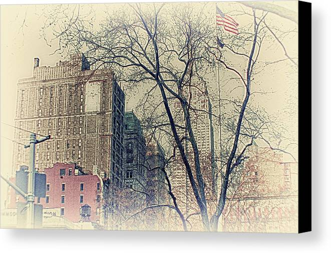 Old Glory Canvas Print featuring the photograph Old Glory In Old Style And Empire by Alex AG
