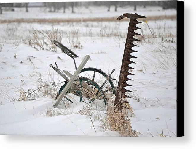 Antique Canvas Print featuring the photograph Old Horse Drawn Sickle Mower by Nicole Frederick