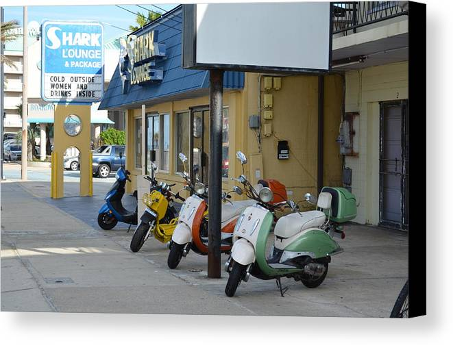 Motorcycles Canvas Print featuring the photograph Old Motorcycles by Edgar Soto