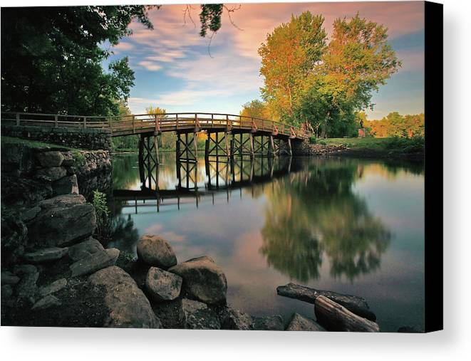 Concord Canvas Print featuring the photograph Old North Bridge by Rick Berk